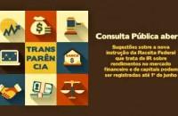 Norma da Receita sobre IR incidente nos rendimentos e ganhos líquidos nos mercados financeiro e de capitais está em consulta pública