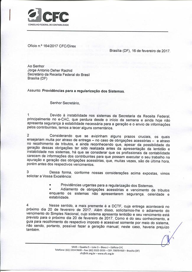 CFC solicita providências urgentes da Receita Federal para regularização dos sistemas